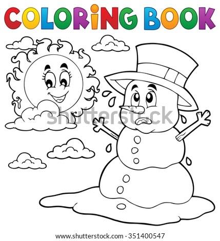 Coloring book melting snowman 1 - eps10 vector illustration. - stock vector