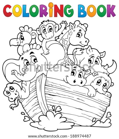 Coloring book Noahs ark theme 1 - eps10 vector illustration. - stock vector