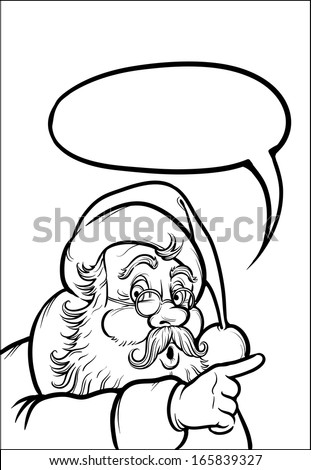 Coloring Book of Santa Claus pointing. Easy-edit layered vector EPS10 file scalable to any size without quality loss. High resolution raster JPG file is included.  - stock vector
