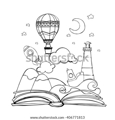 Coloring book. open book with rocket, mountain, moon and stars, cloud, boat, wave, lighthouse, air balloon. vector illustration - stock vector