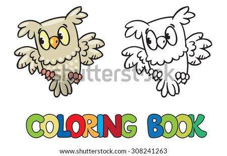 Coloring book or coloring picture of little funny owl - stock vector