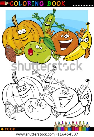 Coloring Book or Page Cartoon Illustration of Funny Food Characters Fruits and Vegetables for Children Education - stock vector