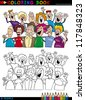 Coloring Book or Page Cartoon Illustration of Happy People Group having Fun and Laughing - stock vector