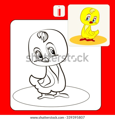 Coloring Book or Page Cartoon Illustration of shy chicken - stock vector