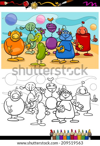 Coloring Book or Page Cartoon Vector Illustration of Black and White Funny Fantasy Characters or Aliens Group for Children - stock vector