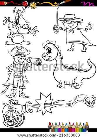 Coloring Book or Page Cartoon Vector Illustration of Black and White Funny Fantasy Characters Set for Children - stock vector
