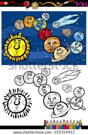 Coloring Book or Page Cartoon Vector Illustration of Color and Black and White Solar System Planets Characters for Children - stock vector