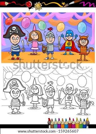 Coloring Book or Page Cartoon Vector Illustration of Cute Little Children in Costumes on Fancy Ball for Coloring Book - stock vector