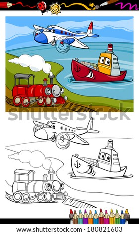 Coloring Book or Page Cartoon Vector Illustration of Cute Plane and Train and Ship Transport Comic Characters for Children - stock vector