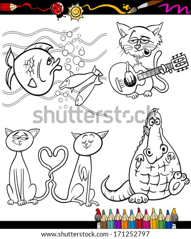 Coloring Book or Page Cartoon Vector Illustration Set of Black and White Animals and Pets or Fantasy Characters for Children - stock vector