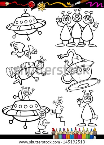 Coloring Book or Page Cartoon Vector Illustration Set of Black and White Fantasy Aliens or Martians Ufo Comic Mascot Characters for Children - stock vector