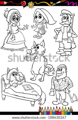 Coloring Book or Page Cartoon Vector Illustration Set of Black and White  Little Red Riding Hood Fairy Tale Characters for Children - stock vector