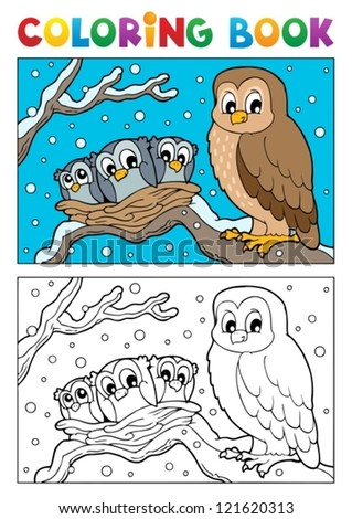 Coloring book owl theme 1 - vector illustration. - stock vector