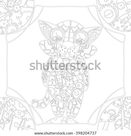 Coloring book page with mechanical cat, zentangle picture with very fine lines for older children and adults with high details isolated on white background. Vector monochrome steampunk  illustartion.  - stock vector