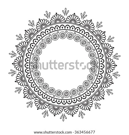Coloring book pages for kids and adults. Hand drawn abstract design. Decorative Indian round lace ornate mandala. Frame or plate design - stock vector