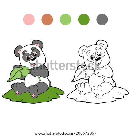 Coloring book (panda) - stock vector