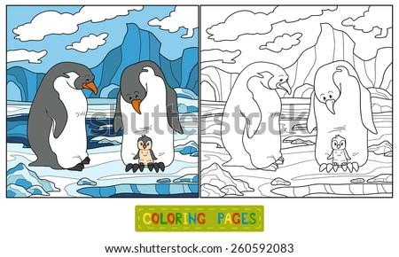 Coloring book (penguin) - stock vector
