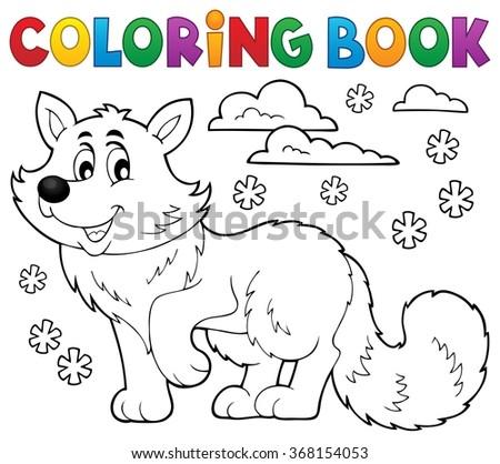 Coloring book polar fox theme 1 - eps10 vector illustration. - stock vector
