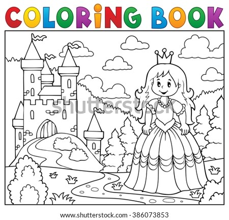 Coloring book princess near castle - eps10 vector illustration. - stock vector