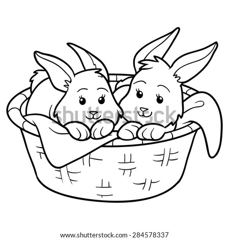 Coloring book (Rabbits in a basket) - stock vector