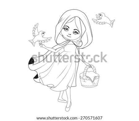 Coloring book: Red Riding hood - stock vector