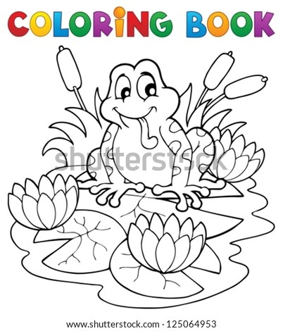 Coloring book river fauna image 2 - vector illustration. - stock vector