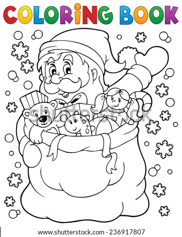 Coloring book Santa Claus in snow 4 - eps10 vector illustration. - stock vector