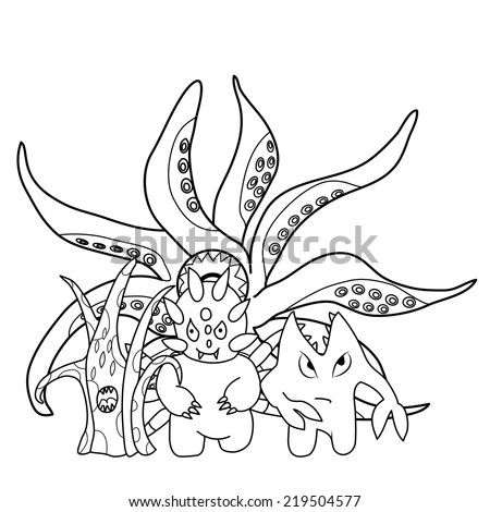 Coloring book: scary cartoon monsters - stock vector