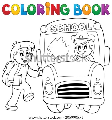 Coloring book school bus theme 2 - eps10 vector illustration. - stock vector
