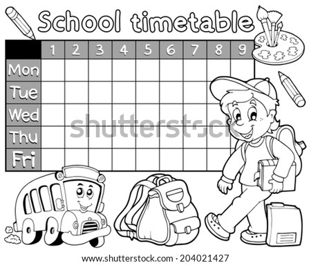 Coloring book school timetable 1 - eps10 vector illustration. - stock vector