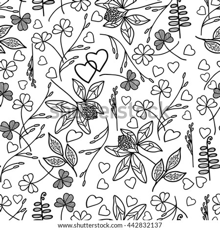 Coloring  book.Seamless pattern. Hand drawn. Adults, children.Black and white. A set of decorative plant elements. - stock vector