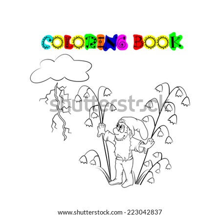 Coloring book. Series:  Weather and seasons. Storm. Spring. - stock vector