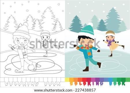 Coloring book skating boy and girl - vector illustration. - stock vector
