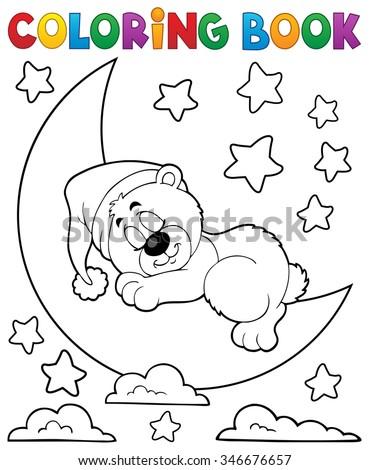 Coloring book sleeping bear theme 2 - eps10 vector illustration. - stock vector