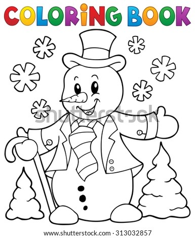 Coloring book snowman topic 1 - eps10 vector illustration. - stock vector