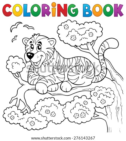 Coloring book tiger theme 1 - eps10 vector illustration. - stock vector