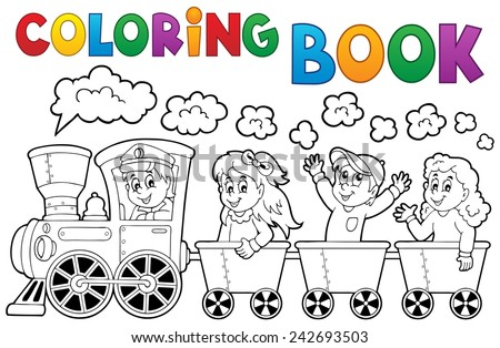 Coloring book train theme 2 - eps10 vector illustration. - stock vector