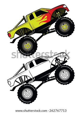 Coloring book Truck Race cartoon character - stock vector