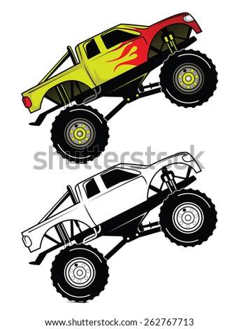 Coloring book Truck Race cartoon character - stock vector