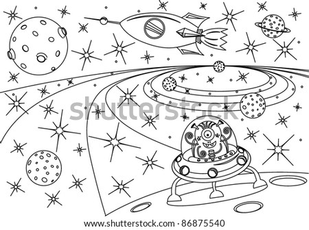 coloring book universe, vector illustration - stock vector