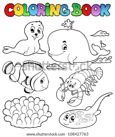 Coloring book various sea animals 3 - vector illustration. - stock vector