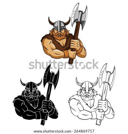 Coloring book Viking Axe cartoon character - vector illustration .EPS10 - stock vector