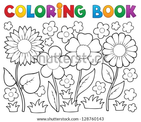 Coloring book with flower theme 2 - vector illustration. - stock vector