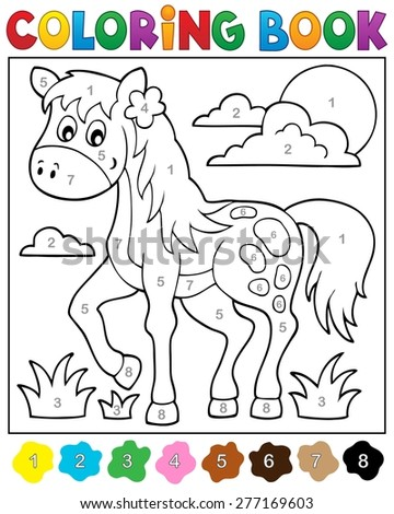 Coloring book with horse - eps10 vector illustration. - stock vector