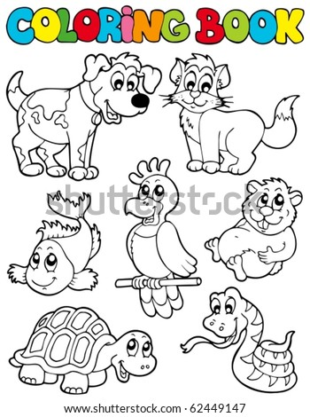 Coloring book with pets 2 - vector illustration. - stock vector