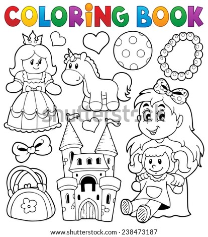 Coloring book with toys thematics 1 - eps10 vector illustration. - stock vector