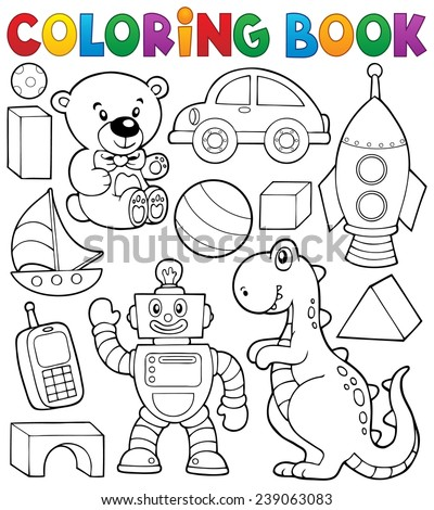 Coloring book with toys thematics 2 - eps10 vector illustration. - stock vector