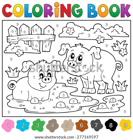 Coloring book with two happy pigs - eps10 vector illustration. - stock vector
