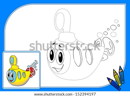Coloring book wits dots. Vector illustration of funny yellow submarine - stock vector