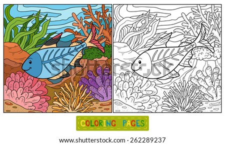 Coloring book (x-ray fish) - stock vector